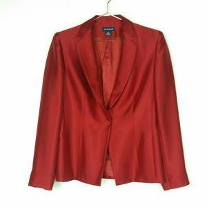 Anne Taylor red silk blazer